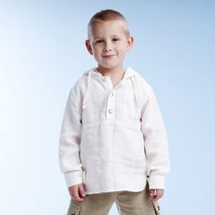Boys White Linen Hooded Long-sleeved Shirt : LinenKids linen store offers girls linen dresses, boys linen suits and linen accessories