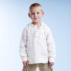 Boys White Linen Hooded Long-sleeved Shirt : LinenKids linen store offers girls linen dresses, boys linen suits and linen accessories
