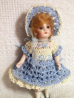 "New Crochet Dress Set for Miniature Antique French Mignonette Bisque 5-6"" DOLL"