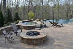 Fire Pits and Outdoor Fireplace Design Planning Ideas – Fire Pit Ideas Small Backyard Landscaping, Fire Pit Backyard, Backyard Ideas, Infinity Pool Backyard, Backyard Waterfalls, Backyard Retreat, Fire Pit Designs, Pool Designs, Cheap Outdoor Fire Pit