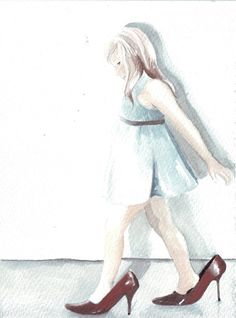 Original watercolor painting girl blue grey dress by HelgaMcL http://etsy.me/11rGg8b $20.00