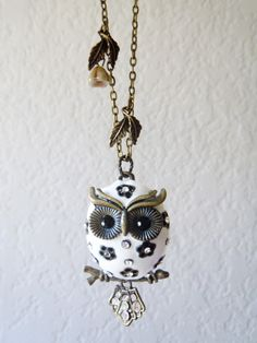 Christmas Gift,Snow Chubby Owlette: Owl Necklace - Antique Bronze Style  Owl. $25.00, via Etsy.