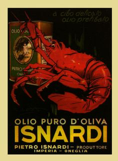 Isnardi Olive Oil with Red Lobster Italy Italia Vintage Poster Repro #JoesCrabShack