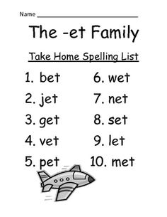 FREE The -et Family Spelling {Word Work} Lists & Tests  Adorable Jet Theme!  This Spelling Unit has 9 pages. Some school districts call it Spelling, some call it Word Work! This packet has both versions! Your students will love it!    The PowerPoint and Center Game are available on TPT if you like this Freebie.  OR You can purchase the entire bundle at  The -et Family Packet ~ PowerPoint, Center Game & Spelling Bundle!