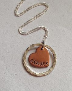 Hand Stamped always Copper Heart and Sterling by CHSJbyMelissaSue, $28.00