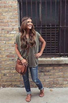 @roressclothes closet ideas #women fashion outfit #clothing style apparel Ripped Jeans and Boyfriend Tee