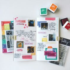 Traveler's Notebook by @kellypurkey using her new #ClearlyKelly stamps. Created for the #EllenHutsonLLC CLASSroom blog.