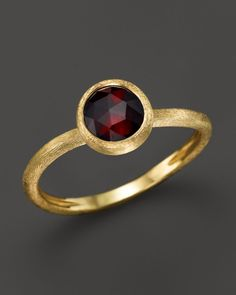 Marco Bicego 18K Yellow Gold Engraved Jaipur Stackable Ring with Garnet | Bloomingdales's