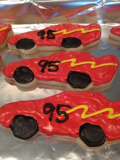 Race Car cookies (with royal icing)