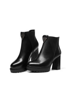 #AdoreWe #VIPme Boots - universe Black Cow Leather Pointed Toe Platform Chunky Heel Velvet Boot - AdoreWe.com