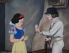 Alex from A Clockwork Orange appears to be offering Snow White a drink she's reluctant to accept