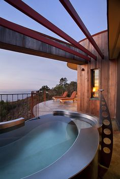 Pool in the Upper Pacific Suite at Post Ranch Inn, overlooking the cliffs of Big Sur, California.