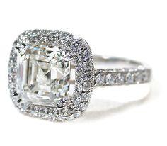 Asscher Cut Diamond Ring 3 C. http://www.georgianjewelry.com/items/show/11948-asscher-cut-diamond-ring-3-c
