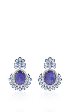 Tanzanite And Sapphire Earrings by SUTRA for Preorder on Moda Operandi