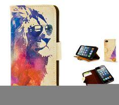 """iPhone 5 / 6 / 6 Plus artist designed  slim flip case - unique, colourful artistic vegan leather style wallet case """"Sunny Leo"""" lion"""
