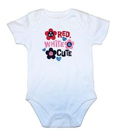 Assorted Red White Blue Flag Independence Day 4th of July Baby Girls  Boys Bodysuits 36 Months Red White Blue >>> You can find out more details at the link of the image.Note:It is affiliate link to Amazon.