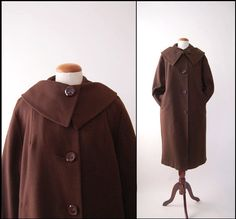 Brown Wool Faux-Fur Lined Vintage Coat by BrownLovesBlack Fur Lined Coat, Its Cold Outside, Vintage Coat, Faux Fur, 1950s, Coats, Wool, Trending Outfits, Brown