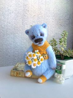Bear Blue with Camomiles By Elena Kirillova - Bear Pile