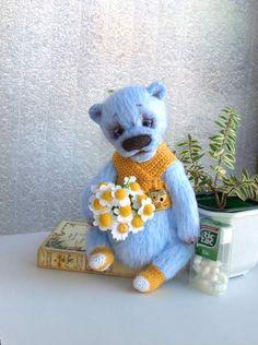 Bear Blue with Camomiles By Elena Kirillova - Bear Pile