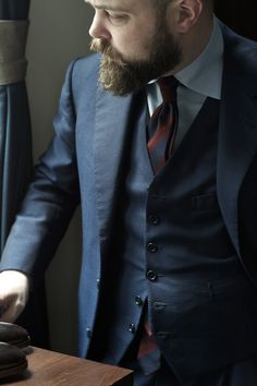 Burgundy, Navy and Olive  Michael Hill, the creative behind English tie maker Drake's and long time protege of Michael Drake, has a way with colour. His eye for mixing colours in subtle ways to great effect, or in decidedly un-subtle ways that are curiously wearable, means that the Drake's range offers something unique. Drake's colours and patterns are rich, unusual and fun, but rarely over the top or gaudy. They allow me to play with colours in ways not immediately obvious, lik
