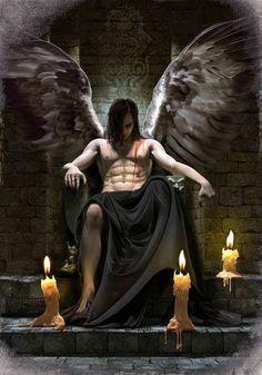 Or dark angel? Dark Fantasy Art, Fantasy Kunst, Fantasy Artwork, Dark Art, Demon Art, Ange Demon, Male Angels, Angels And Demons, Male Fallen Angel
