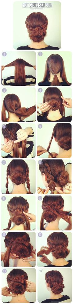 Best Hairstyles for Long Hair - Hot Crossed Bun - Step by Step Tutorials for Easy Curls, Updo, Half Up, Braids and Lazy Girl Looks. Prom Ideas, Special Occasion Hair and Braiding Instructions for Teen (Long Hair Tutorial) Pretty Hairstyles, Braided Hairstyles, Wedding Hairstyles, Braided Updo, Hairstyle Ideas, Updo Hairstyle, Short Hairstyles, Bridesmaids Hairstyles, Classic Hairstyles