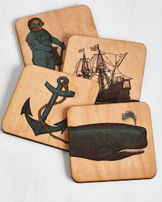 wooden nautical coasters