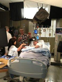 "Callie Torres (Sara Ramirez) & Mark ""McSteamy"" Sloan (Eric Dane). Grey's Anatomy BTS."