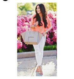Classic Clean Crisp Spring / White skinny distressed jeans Coral top beige purse shoes