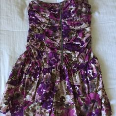 Floral dress Strapless tube top dress with zipper going down and ruffles on the upper half of dress Dresses Strapless