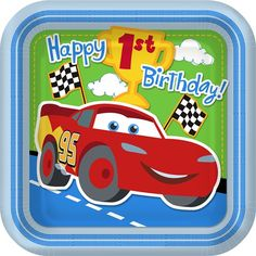 Start your 1st birthday engines, race fans!Your zoomin', vroomin' baby boy is celebrating his very first birthday! Filled with vibrant colors, checkered flags and the wildly popular Disney Pixar Cars movie stars,this animated 1st Birthday Champ party theme will lead your little speed racer and all of his birthday guests straight to the finish line! Disney Pixar Cars characters Lightning McQueen, his friendly side-kick, Tow Mater and their fire-truck hero, Red, are featured on all of the…
