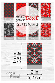 #Printable Red Gray #Damask #Gift #Tags - gift tags #template - #blank damask tag - you can edit text in MC #Word or in #PDF by add comment feature - gift tags in red and gray colors - pattern : elegant polka dot and damask, single and double patterned - the tags can be used for DIY crafts mark or as DIY gift tag for present wrapping  This is digital product.