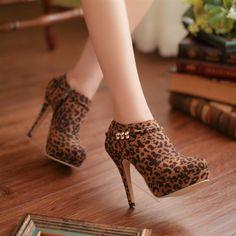 Pas cher 2015 léopard sexy chaussures à talons hauts, Femmes automne  cheville bottes, Bleu aaf6dcdd24c7