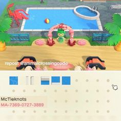 No photo description available. Animal Crossing 3ds, Animal Crossing Qr Codes Clothes, Ac New Leaf, Motifs Animal, Island Design, Like Animals, Outdoor Pool, Pool Designs, Custom Design