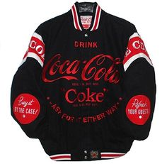COCA COLA COKE Bottle Embroidered cotton twill Jacket JH Design Black MED Coca Cola Life, Coca Cola Bear, Coca Cola Santa, Coca Cola Christmas, World Of Coca Cola, Pepsi, Coca Cola Merchandise, Necklaces, Outfits