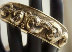 Vintage Hinged Bangle Victorian Revival Scroll Design