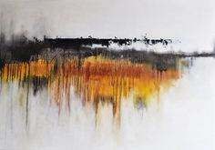 """Original Abstract Painting Landscape LARGE 27x39"""" UNSTRETCHED Rolled in a tube, Dark Grey Golden Yellow on Etsy, $500.00"""