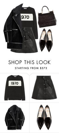 """1970"" by smokingflowers ❤ liked on Polyvore featuring Bella Freud, Maje, H&M, Nicholas Kirkwood and Dolce&Gabbana"