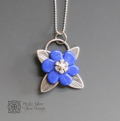 Handcrafted silver & lampwork glass flower pendant on a shiny silver ball chain. Pendant measures 1 inches in diameter. Silver Flowers, Blue Flowers, Flower Pendant, Glass Design, Ball Chain, Blue And Silver, Mystic, Strength, Pendants