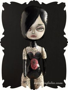 Lydia - tattooed lady art doll #tattooed #lady #art #doll #primitive #folk #handmade #ooak #gothic #victorian #circus #sideshow #weird #strange #corset #burlesque #pinup @karolinfelix
