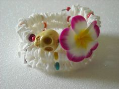 Day of the Dead Yellow Skull Polymer Clay Flower by OctoberPetals, $19.75