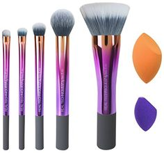 Real Techniques-Illuminate and Accentuate Set-Limited Edition Makeup Brush and Sponge Set-For Blush, Shadow, Foundation. Makeup Brush Dupes, How To Wash Makeup Brushes, Makeup Brush Cleaner, Contour Makeup, Drugstore Makeup, How To Apply Makeup, Makeup Brush Set, Beauty Makeup, Contour Brush