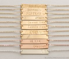 Personalized Bar Necklace in Sterling Silver, 14kt Gold-filled, Rose Gold-filled. You can customize the bar with names, initials, dates, coordinates, roman numerals, symbols, and much more! A great gift idea and meaningful personal piece.