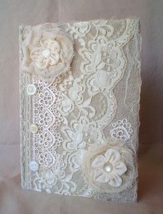 Lace Journal Diary Notebook Handmade Ribbon Flowers Vintage Button Fabric…