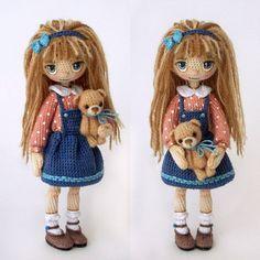 mint.bunnyЗаждались её? С удовольствием представляю вам свою новую куклу! Она оказалась такой послушной лапочкой – когда я ее снимала, то сделала всего 19 кадров!! Когда с другими куклами это число достигает 50-70 ~~~~ Зовут её Энни (что-то в последнее время прям все куклы с именами пошли, но это наверное хорошо, да?) А вот медведя не знаю как зовут, без имени остался. Может, придумаем вместе? Прошу помощь зала! #вязаная_кукла #croketdoll #кукла_крючком #кукла_ручной_работы #handmade