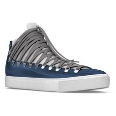 Myswear 'Redchurch' hi-top sneakers (2.155 RON) ❤ liked on Polyvore featuring shoes, sneakers, high top leather shoes, blue high tops, lace up shoes, lacing hiking boots and hiking boots