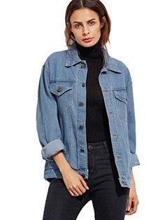 33eb1c26ed Product name: Button Front Pockets Boyfriend Denim Jacket at SHEIN,  Category: Denim Jackets