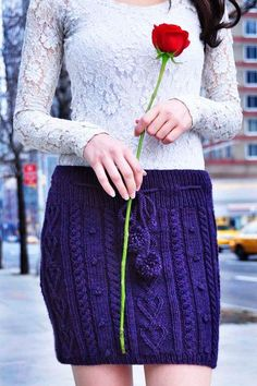Heart Me Forever Cable Knit Skirt - Knitting Patterns and Crochet Patterns from KnitPicks.com