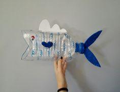 Con una botella grande crearemos un pez que se ira comiendo pequeños peces (tapones de las botellas), e iremos contando cuantos peces hay en el exterior, cuantos en el interior del pez grande y el total de los dos.