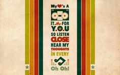 minimalistic text retro typography stereo lyrics stripes musical notes